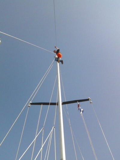 Blogger up the mast