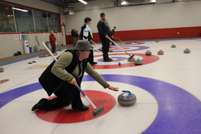 Meaford Curling Club skip in action