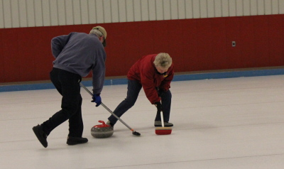Meaford Curling Club sweeping