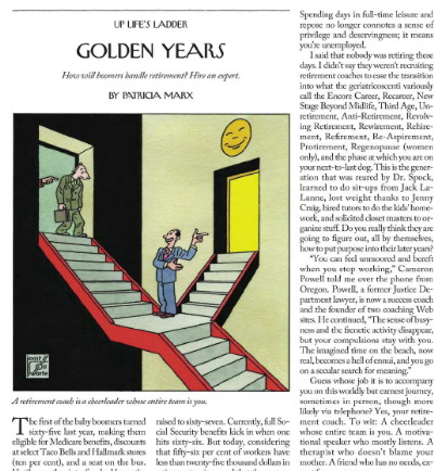 Patricia Marx profiles retirement coaches in the New Yorker