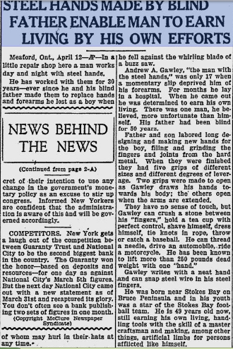 An AP story about Andrew Gawley from the St. Petersburg, Florida Evening Independent April 12, 1932
